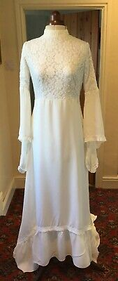 VINTAGE 1960's/70's IVORY WEDDING DRESS WITH TRAIN