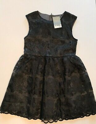 Next Girls Grey/Black Floral Sleeveless Party Dress Age 7 Years New