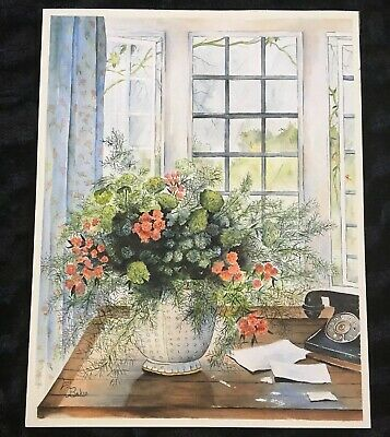 Lois Baker Original Watercolor Painting Vintage Floral Spring Morning Window