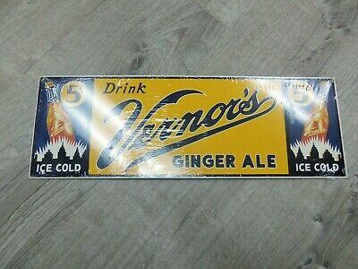 New Ande Rooney Vintage Vernor's Ginger Ale Soda 5¢ Sign REPRODUCTION Wrapped