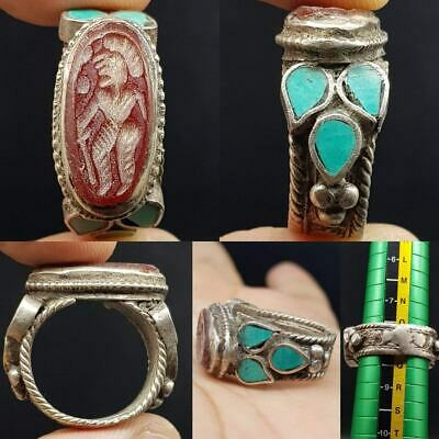 Antique Silver Turquoise Agate intaglio Stone Lovely Ring  # 19