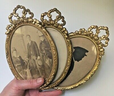 Antique French Lot 3 Oval Brass ornate frames w/Bow mounts~old photo~silhouette