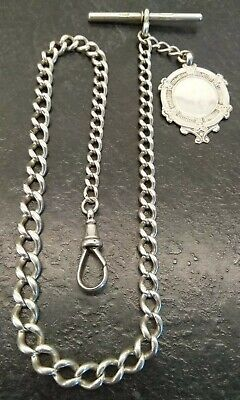 Antique Edwardian Silver Graduated Albert Pocket Watch Chain And Fob. By H.C.F.