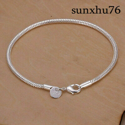 a4a0c82266c414 Fashion 925Sterling Solid Silver Jewelry 3MM Snake Chain Bracelet For Women  H187