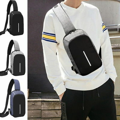 Mens Small Chest Bag With USB Charging Crossbody Bicycle Sport Outdoor Sling Bag