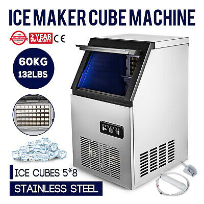 60Kg/Day Ice Cube Maker Machine Snack Bars 300W Commercial 220-240V Auto Counter
