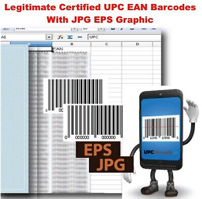 100 Legit UPC EAN Codes GS1 Certified Number For Amazon Includes Graphic Barcode