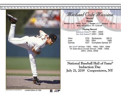 Mike Mussina Baltimore Orioles 8X10 2019 Hall Of Fame Induction Day Card