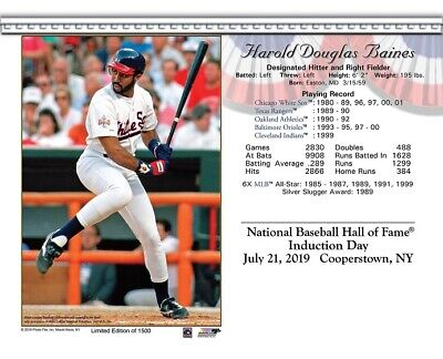 Harold Baines Chicago White Sox 8X10 2019 Hall Of Fame Induction Day Card