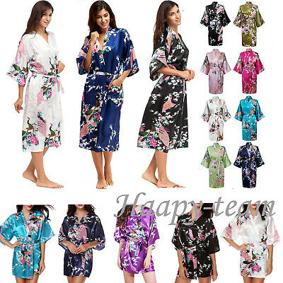 Bride Long Women Peacock Long / Short Kimono Robe Satin Silk Night Dressing Gown