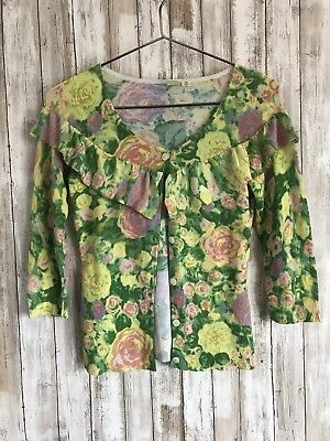 Anthropologie Little Yellow Bird Floral Multi Colo Ruffled Cardigan Sweater XS