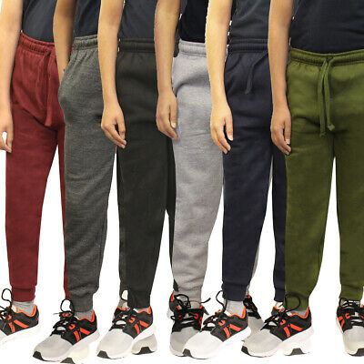 Boys Girls Children School PE Fleece Jogging Bottoms Joggers Tracksuit Trousers