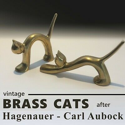 MCM VINTAGE PAIR OF LARGE AND HEAVY CAT PAPERWEIGHT After Hagenauer Carl Aubock