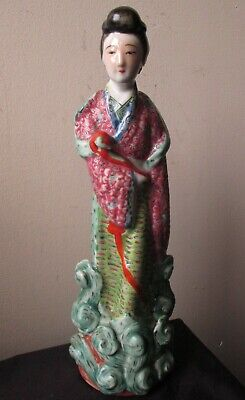 Antique SIGNED Chinese Republic Period Famille Rose verte Porcelain woman statue
