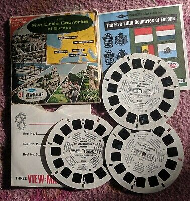 5 LITTLE COUNTRIES OF EUROPE ~ VIEW-MASTER REELS 3pk IN PACKET WITH BOOK.