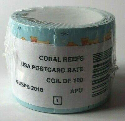 1 Roll of 100 USA Postcard Rate Stamps - 2018 Coral Reefs - New - Free Ship