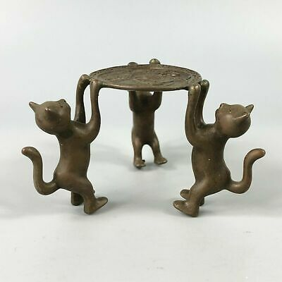 Exquisite Collectible Old Copper Handwork 3 Cats Chinese Candlestick Statue