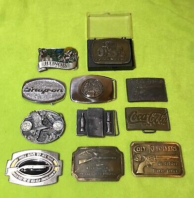 Vintage Belt Buckle Lot (11) John Deere, Coke, Snap-On, Siskiyou, Colt Guns Etc