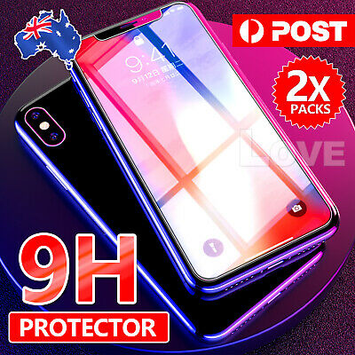 2x Scratch Resist Tempered Glass Screen Protector Film Guard Apple iPhone X XS