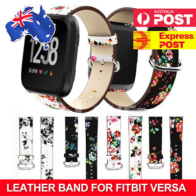 For Fitbit Versa Peony Smart Watch Band Strap Retro Leather Bracelet Wrist Band
