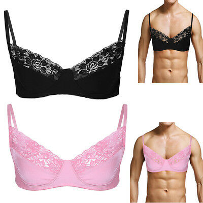Men's Sissy Satin Lace Bra Lingerie Bralette Wire-free Bra Top Adjustable Straps