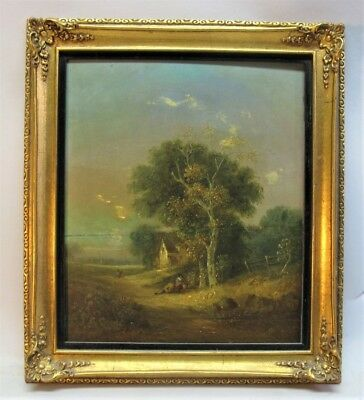 Fine S.D. COLKETT ORIGINAL ENGLISH Oil Painting of COTTAGE c. 1840  antique
