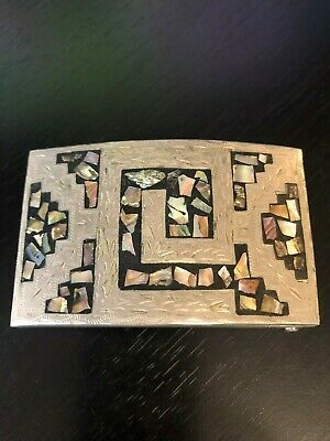 Vintage Mexican Alpaca Abalone Pieces Belt Buckle Interesting Design Integrated