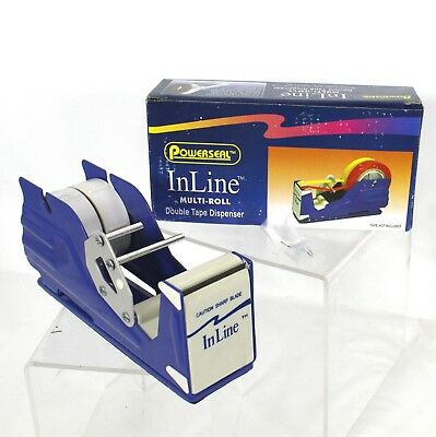 "NEW In Box Powerseal InLine Multi-Roll Double Tape Dispenser 2-1"" or 1-2"" wide"