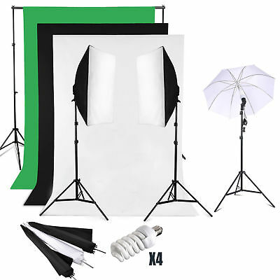Photography Studio Continuous Lighting Stand umbrella+ backdrop kit softbox
