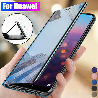 Clear View Mirror Stand Flip Case Cover For Huawei Mate 20 10 Lite P20 P30 Pro