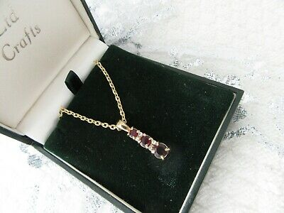 Stunning Vintage   Gold Plated  Pendant With Garnet Stones  And Chain
