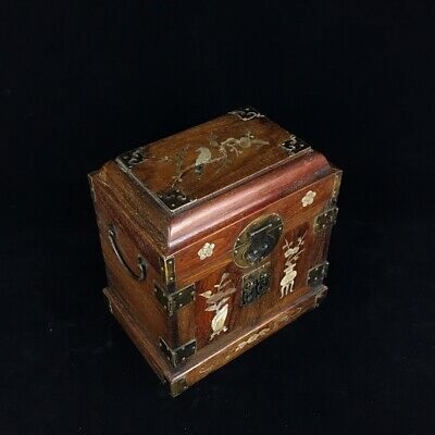"10"" China huanghuali wood handcarved Mosaic shell flowers Jewelry box"