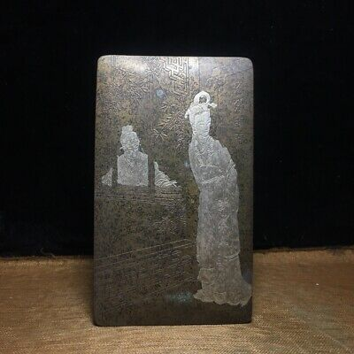 """6"""" Chinese old antique bronze handcarved woman and man ink box"""