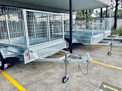 New 8x5 Full Welded Galvanised Box Trailer with 900mm Cage & Tipping PickupToday