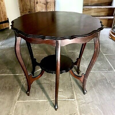 Edwardian two tier ornate window table/side table/writing table