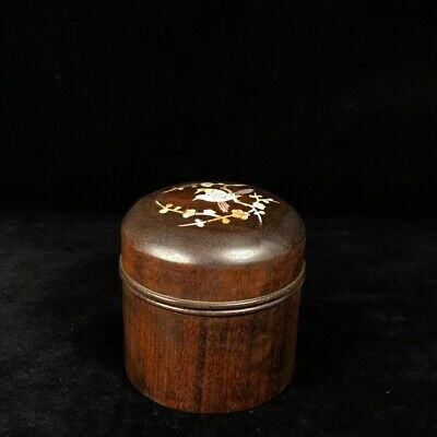 """5"""" Chinese antique huanghuali Wood Inlaid tin flowers and birds Tea Caddy"""
