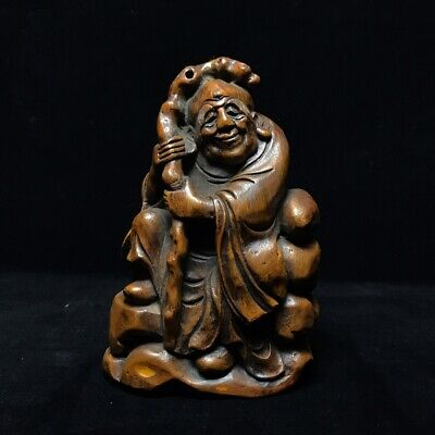 """8"""" Chinese old antique bamboo wood handcarved Buddha character Statue"""