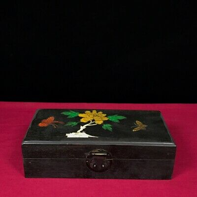 """11"""" Chinese old antique Sandalwood Inlaid tin handcarved flowers Butterfly Box"""