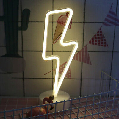LED Neon Signs Lightning Night Lights Battery/USB Operated Room Decoration+Base