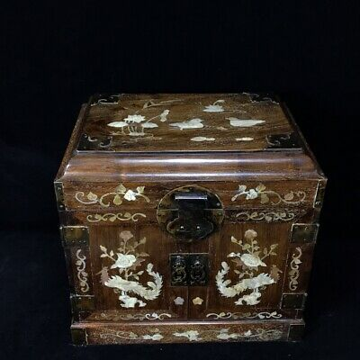 """16"""" Chinese old antique huanghuali wood Inlaid tin handcarved flowers Big box"""