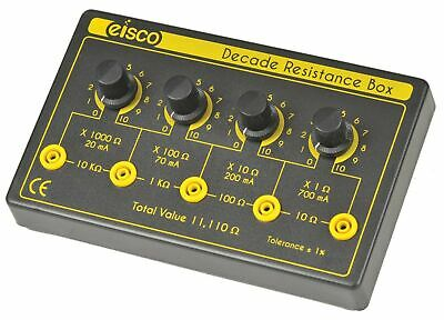 Eisco Labs 4 Decade Resistance Box, Variable from 0-11,110 Ohms, 0.5W Resisto...