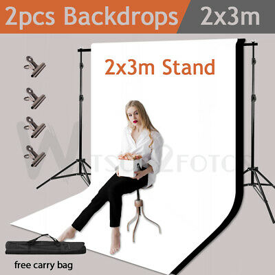 Non-woven Backdrop Stand Kits With 2x3M Background Support Sets Photo Studio US