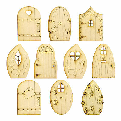 Pack of 10 Fairy Doors - 10 designs to chose from - 3mm MDF wood, Laser Cut