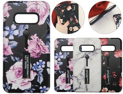 For Samsung Galaxy S10 Plus S10e Pattern Case Finger Grip Stand Cover Shockproof