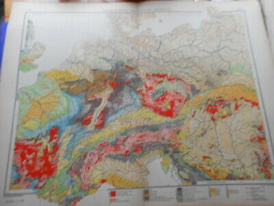 Antique Map - Andrees, 1914.  Central Europe, Geological Overview