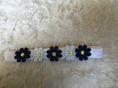 Babies Flower Headband Blue And White  0-6 Months