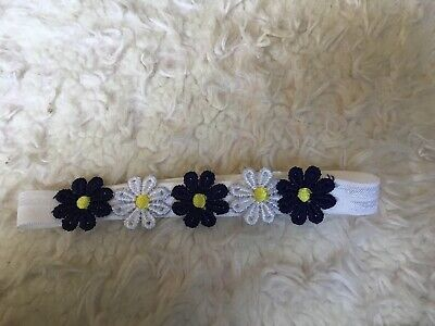 Babies Flower Headband Blue And White  6-12 Months