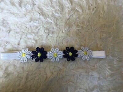 Babies Flower Headband 2 Blue And 3 White  Flowers 0-6 months