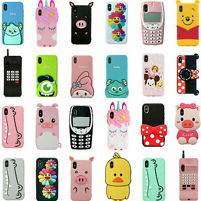 3D Cartoon Soft Silicone Cover Case For iPhone 5 SE 6 6S 7 8 Plus X XS XR XS Max