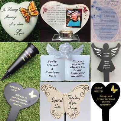 Son Heart Memorial Plaque Frame Stake Spike Vase Ornament Grave Remembrance Item